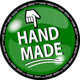 Green hande made button Stock Photo
