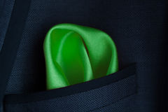 Green handkerchief in jacket a pocket Royalty Free Stock Image