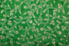Green handmade art paper with floral print Royalty Free Stock Images