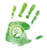 Green handprint eco, bio Stock Photos