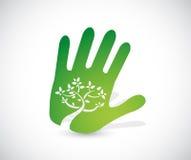 Green handprint illustration design Stock Image