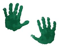 Green handprints isolated on white Royalty Free Stock Image