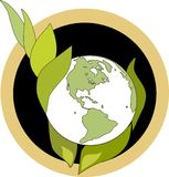 Green Hands emblem. Emblem depicting care of the earth in the green way for a clean green world Royalty Free Stock Image