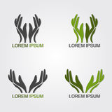Green Hands. Icon for decoration artwork - Vector Stock Photography