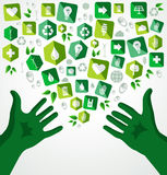 Green hands recycle flat icons illustration Stock Photos