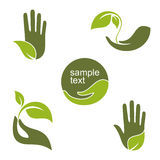 Green hands. Set of emblems and labels with human hands and green leaves for ecology, gardening, natural beauty and health design Royalty Free Stock Photos