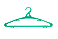 Green hanger. For clothes isolated over white background Stock Photos