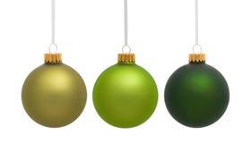 Green Hanging Christmas Ornaments royalty free stock image