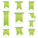 Green hanging curved ribbon banners set eps10 Stock Image