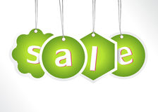 Green hanging sale labels. Stock Photography