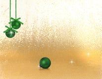 Green hanging xmas ornaments Royalty Free Stock Images