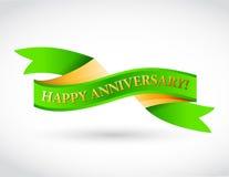 Green happy anniversary ribbon Stock Photos