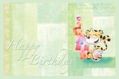 Green Happy Birthday card Stock Photos