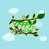 Green happy earth day typography at the bottom and above have stem and tendrils with leaf cloud background. happy earth day, 22 vector illustration