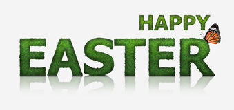 Green Happy Easter text made from grass Stock Photo