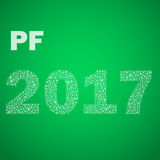 Green happy new year pf 2017 from little snowflakes eps10 Stock Photo