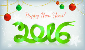Green happy new year ribbon on snow Royalty Free Stock Photo