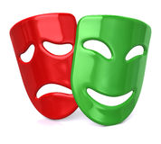 Green happy and sad red masks Royalty Free Stock Photo