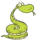 Green happy viper. Cartoon character of coiled green happy viper royalty free illustration