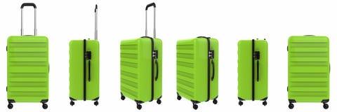 Green hard case luggage isolated on white Stock Photography