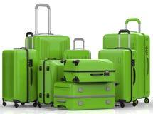 Green hard case luggages on white background Royalty Free Stock Photo