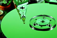 Green Hard Drive. Close-up of a green hard drive royalty free stock photography