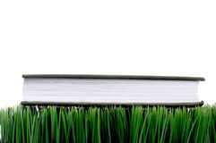 Green hardcover on grass Stock Photo