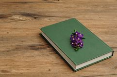 A green hardcover story book with purple flowers. On a wooden background Stock Photography