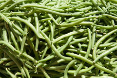 Green haricots. On the market closeup Royalty Free Stock Images