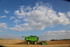 Green Harvester at Daytime Stock Photo