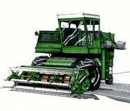 Green harvester hand drawn Royalty Free Stock Image