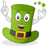 Green Hat Cartoon Character. A funny green hat (traditional St. Patricks or Saint Patrick s Day top hat) character smiling. Eps file available Stock Photo