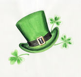 Green hat and clover Stock Photography