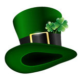 Green hat with clover leafs Stock Photo
