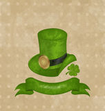 Green hat, clover, ribbon in saint Patrick Day Royalty Free Stock Photography