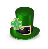 Green hat with clover symbol isolated Stock Images
