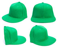 Green Hat at Different Angles. Four shots of a fitted grey hat from different angles isolated on a white background Royalty Free Stock Image
