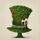 Green hat. Fantasy green hat in the shape of  tree with flowers. Computer graphics Royalty Free Stock Photo