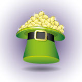 Green hat and gold coins. Royalty Free Stock Photography