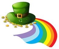 A green hat with gold tokens Royalty Free Stock Photo
