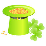 Green hat with golden coins Stock Images