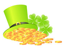 Green hat with golden coins Royalty Free Stock Photo
