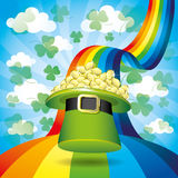 Green hat on rainbow. Royalty Free Stock Photo