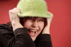 green hat redhead woman Στοκ Εικόνες