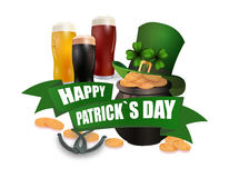 The green hat. Three kinds of beer. Pot with coins. Two leaves of clover. Horseshoes. An inscription for St. Patrick s Royalty Free Stock Photos