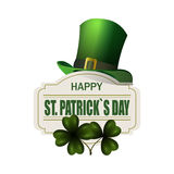 Green hat. Two leaf clover. Happy St. Patrick s Day inscription. Isolated on white background. illustration. Green hat. Two leaf clover. Happy St. Patrick s Day Stock Photography