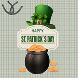 Green hat. Two-leaf clover and horseshoe iron. Pot with coins. Happy St. Patrick`s inscription. Against the background. Of the cell. Vector illustration Royalty Free Stock Photography