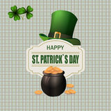 Green hat. Two leaf clover. Pot with coins. Happy St. Patrick`s inscription. Against the background of the cell. Vector illustration Royalty Free Stock Photo