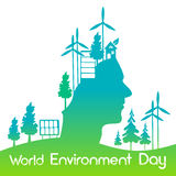 Green Head Silhouette Wind Turbine Solar Energy Panel World Environment Day Banner Royalty Free Stock Photo