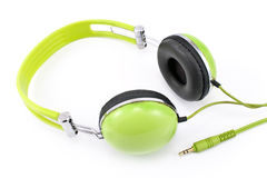 Green headphones Stock Photography